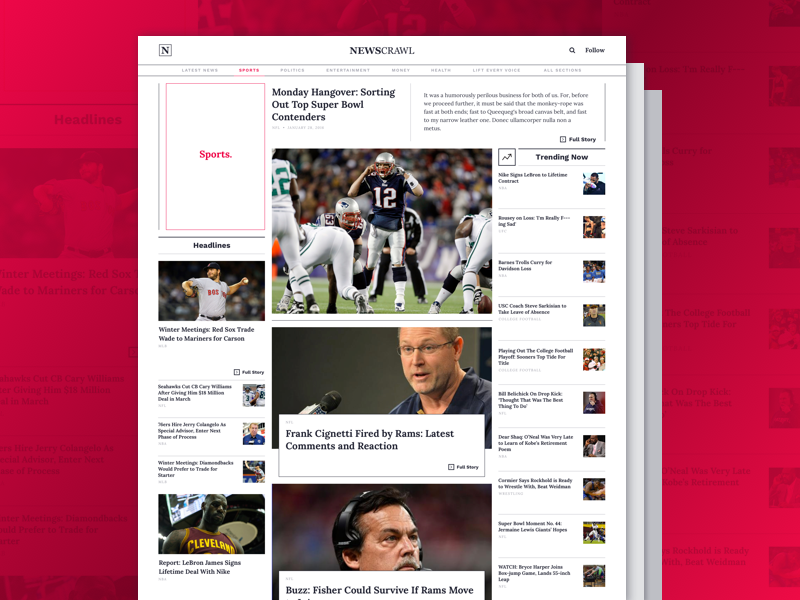 Sports Page web homepage flat clean newspaper news editorial articles ui design ui layout web design