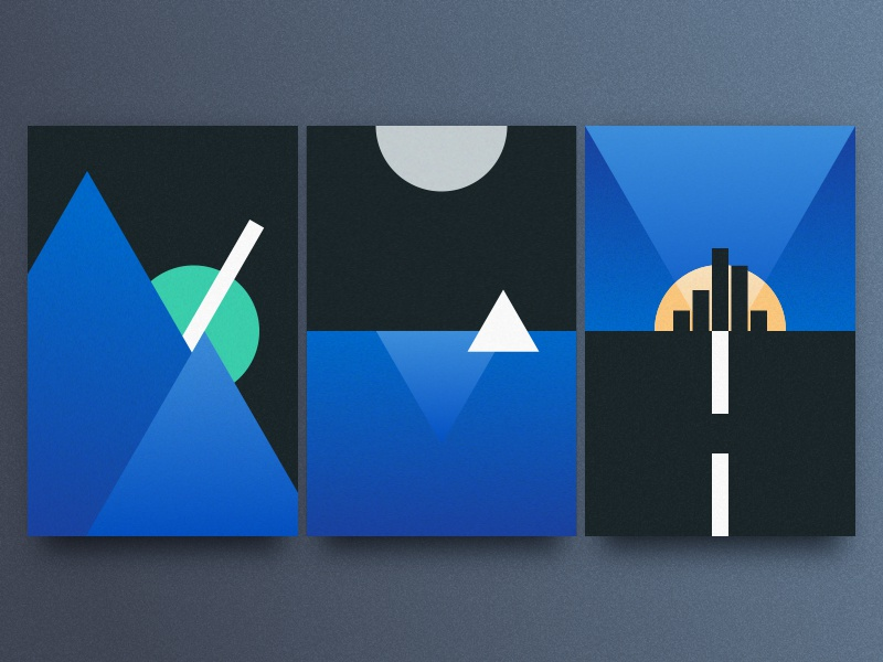 Card Design Exploration content poster design graphic design city sky lake mountain geometric shapes cards card