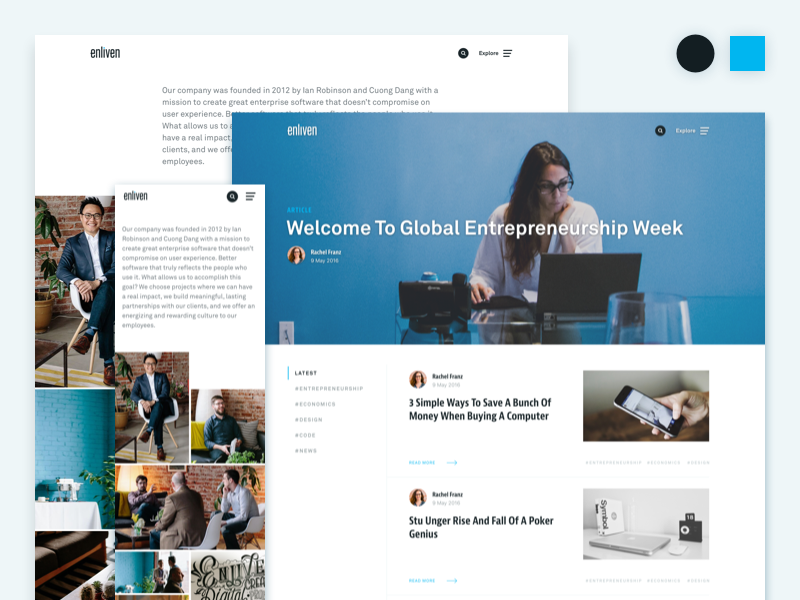 Enliven Redesign company website clean desktop mobile writing blog about us ux ui branding website