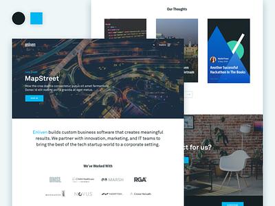 Enliven Home Page company website desktop redesign homepage website ui web design