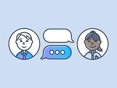Coworkers chat bubble ai conversation branding brand graphic design line art workforce chat illustration