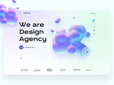 Creative agency landing page typography 3d color blob website design uidesign graphic design ui