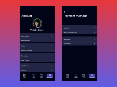 Account and Payment method