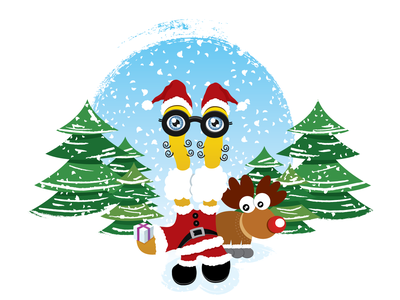 Leno and Reno vector cartoon character cartoon christmas tree christmas branding logo drawingart illustration creative design