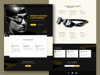 Speedo Fastskin 3 Elite Mirror landing page swimming glasses goggles product sport website desktop ux ui ui  ux design