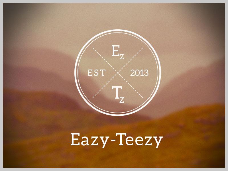 Eazy-Teezy Logo - showcase logo branding tshirt badge black white wireframe outline identity vector font circle