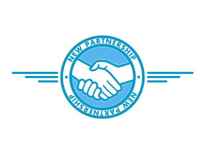 New Partnership vector blue wings emblem shake hands