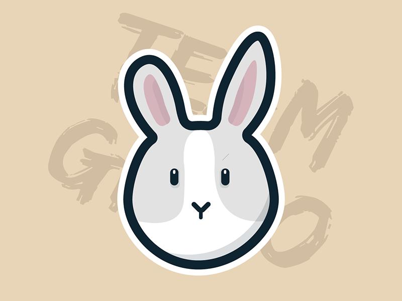 Gizmo the Rabbit character vector flat illustration sticker animal bunny rabbit