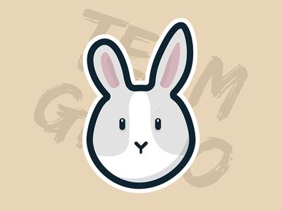 Gizmo the Rabbit character vector flat illustration sticker animal bunny rabbit
