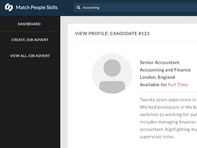 Candidate Profiles dark flat avatar profile jobs candidate