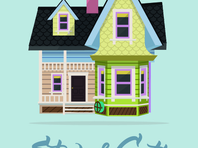 Carl's House - Pixar Up pixar wood balloons print wedding house up disney colors graphics illustration