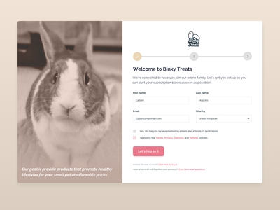 Daily UI Challenge #001 - Sign Up ux design uidesign uipractice bunnies rabbits animals form signup page signup form signup dailyui 001 dailyui