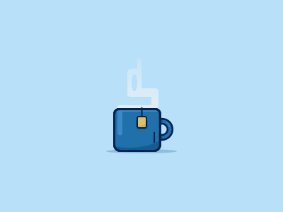 Cup O' Tea cup of tea tea bag tea mug cup blue flat illustration vector