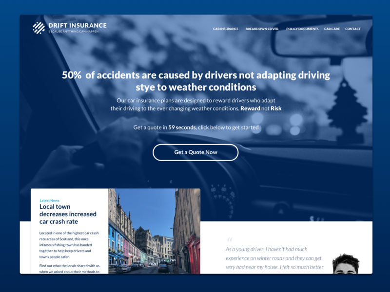 Daily UI Challenge #003 - Landing Page blue white landing page concept drift cards ui typography concept insurance car dailyui 003 dailyui uidesign website website concept landing page
