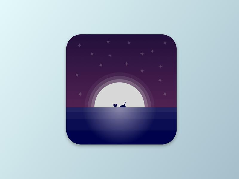Daily UI Challenge #005 - App Icon dailyui 005 ui  ux ui dark gradient vector icon whale sea night app icon app design daily ui dailyui