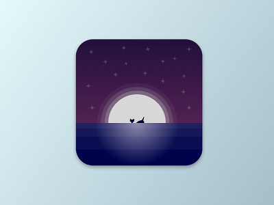 Daily UI Challenge #005 - App Icon dailyui 005 ui  ux ui dark gradient vector icon whale sea night app icon app design daily ui dailyui