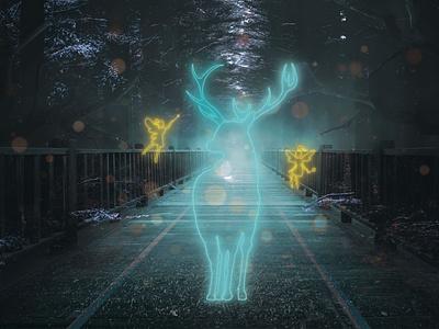 Magic forest. glowing neon lights design photoshop art photoshop illustrator illustration