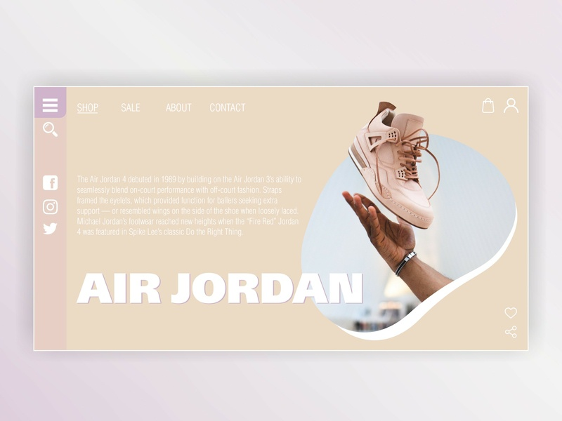 First screen of the sneaker site site design girly pink air jordan air jordan sneakers sneaker pale landing page landing site website web ux ui design