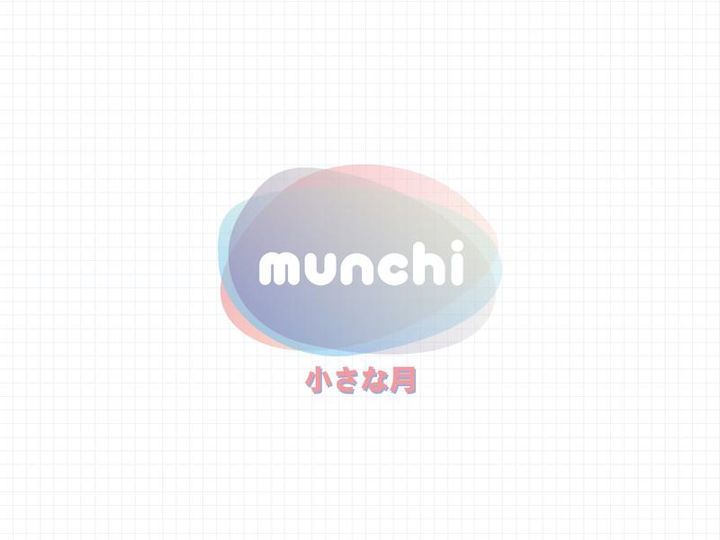 Munchi personal logo kawaii fresh clean art design funny little moon letter typography type gradient design gradient japanese cute personal logotype design logotype logotipe logo