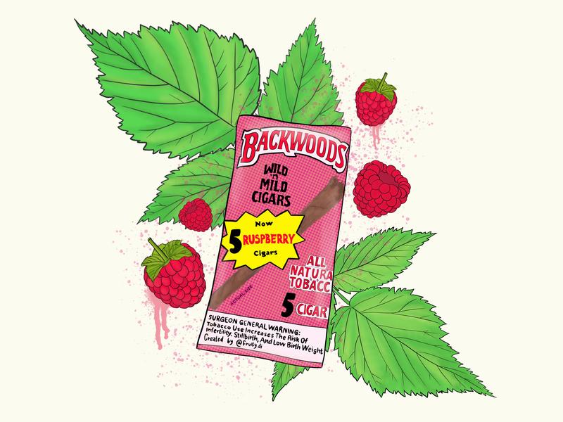 Backwoods raspberry concept illustration tobacco cannabis marijuana joint dope cigars fresh top trend design fashion concept art berry 420 blunt smoke weed backwoods illustration