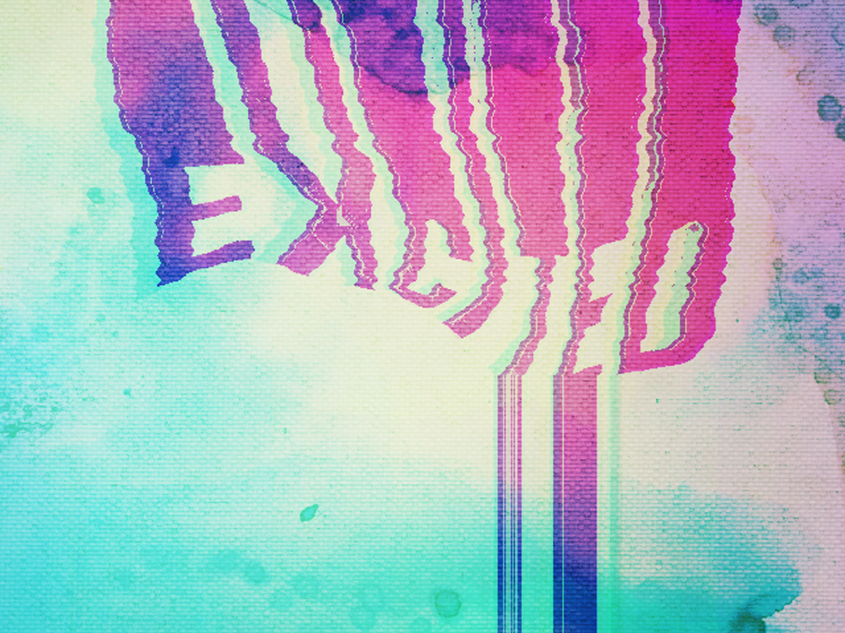 Excited excited dead words mixed splash type typographic typografy glitch liquid design art
