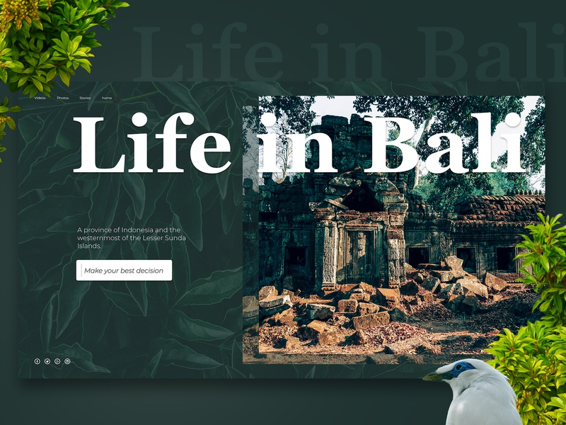 Lil shot of the Bali project figma photoshop dream design website webdesign travel bali ux ui