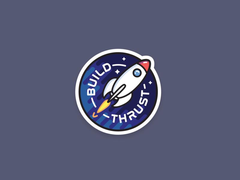 Build Thrust Sticker vector badge space rocket adobe illustrator sticker mule sticker build thrust