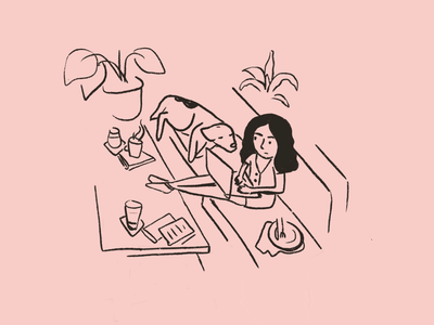 WFH pink plants isolation work space office nap sofa freelancing home dog woman drawing line illustration