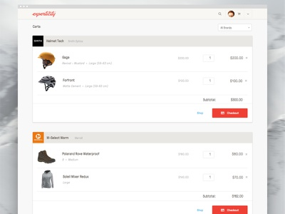 New Experticity - Product Cart responsive product design navigation card button web design design ui ux shopping ecommerce cart