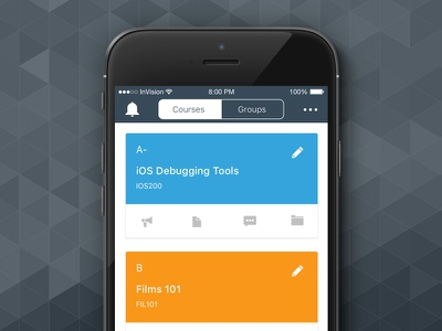 Canvas App - Course Dashcards app iphone apple ios mobile course icons ux ui card