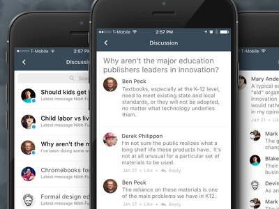 Canvas App - Discussions education mobile design ios iphone app ux ui