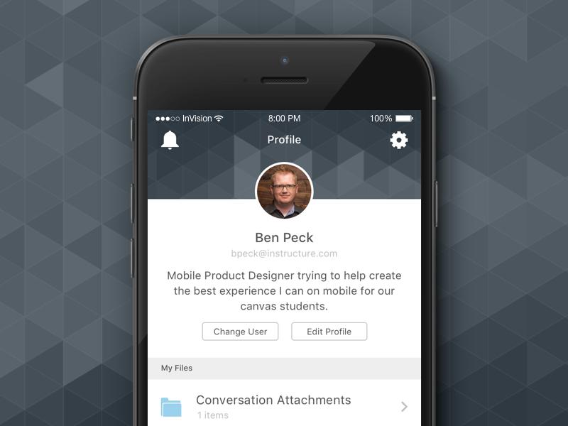 Canvas App - Profile design apple ios mobile ux ui app profile