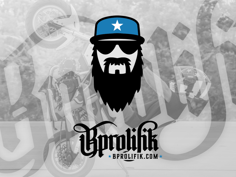 Bprolifik logo wheelie grom squad honda grom motorcycle moto brand design brand identity black blue illustration logo sunglasses beard branding brand stunt rider stunter stunt bprolifik