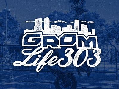 Grom Life 303 logo wheelie stunt rider stunt motorcycle moto 303 skyline denver skyline mountains honda grom squad bikelife grom colorado illustration logo branding design