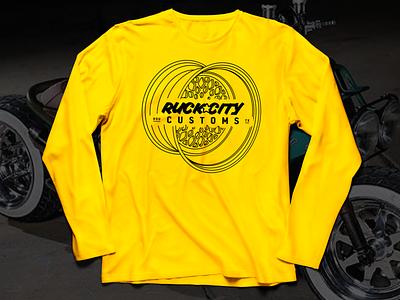 RCC Mens LongTshirt Mockup v1 honda apparel design custom motorcycles yellow long sleeve shirt apparel rim wheel grom ruckus ruckcitycustoms typography vector texas motorcycle moto illustration logo design