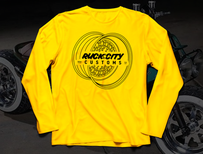 RCC Mens LongTshirt Mockup v1 honda apparel design custom motorcycles yellow long sleeve shirt apparel rim wheel grom ruckus ruckcitycustoms typography vector texas motorcycle moto illustration logo design