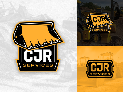 CJR Services logo yellow logo design brand design digger dig crane bucket front end loader heavy equipment construction vector texas illustration logo branding design
