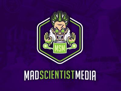 Mad Scientist Media logo msm.fm lab coat lab science crazy typography vector illustration design mad scientist green purple branding logo podcast media scientist mad