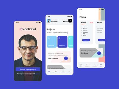 Online Consultation - User App mobile design ui design psychology consultation