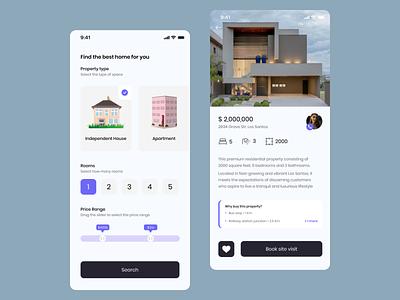 Property Rental App figma illustration design ux ui mobile app renting rental app