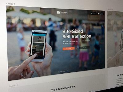 Lifebox Landing Page Hero lifebox landing page splash marketing home responsive design proxima nova