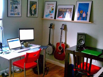 Workspace desk home office workspace macbook guitar