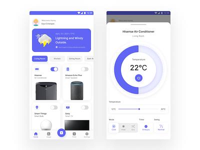 Smart Home App Concept userexperience userinterface icons purple simple clean materialdesign smarthome ux figma exploration ui figmadesign design