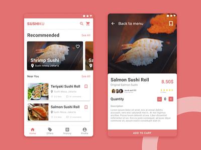 SushiKu App - Adding sushi to cart figmadesign sushi branding ui
