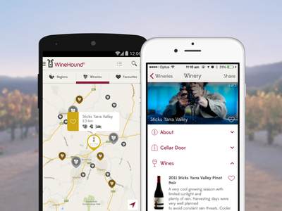 Winehound - Winery Directory App tour drink alcohol cellar door ios iphone android favourites list directory wines winery