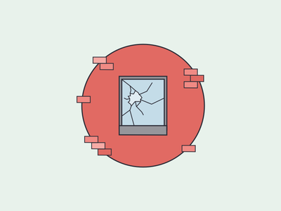 Broken Window Illustration sketch app app emergency ios icon illustration onboarding glass window