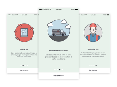 Jak Onboarding Illustrations repairs trades help app ui illustrations onboarding
