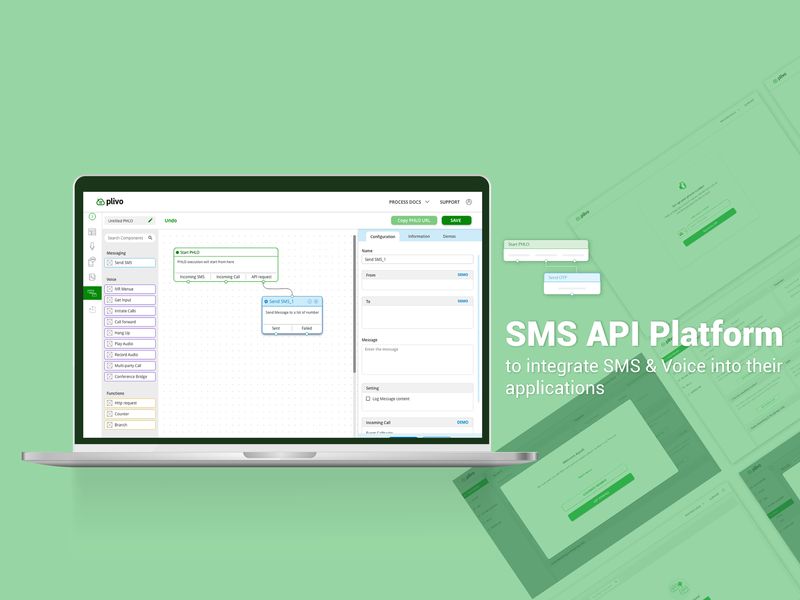 SMS API Platefrom design ux ui interaction design