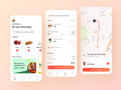 Online Grocery Delivery Mobile App order summary home map gps live tracking cart online ordering mobile mobile app on demand grocery