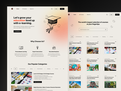 E-Learning Platform Landing Page mobile design funlearning mobileapp uidesign onlineeducation elearning graphic design ui